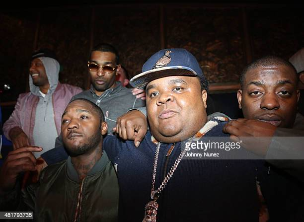 Maino Chi Ali Uncle Murda Fred The Godson and Lil Cease attend the Rhymes Over Beats Hip Hop Launch at The Griffin on March 31 2014 in New York City