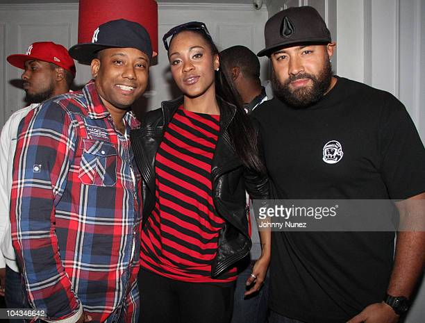 Maino Shontelle and Ebro attend a private listening event at MPD Restaurant on September 21 2010 in New York City