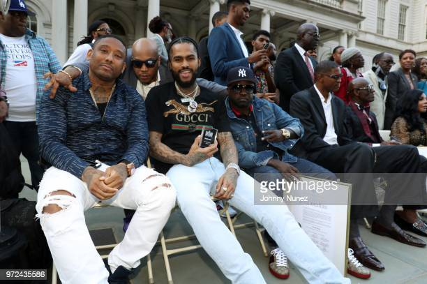 Maino Styles P Dave East and Havoc attend the 3rd Annual Influence Awards at City Hall on June 11 2018 in New York City