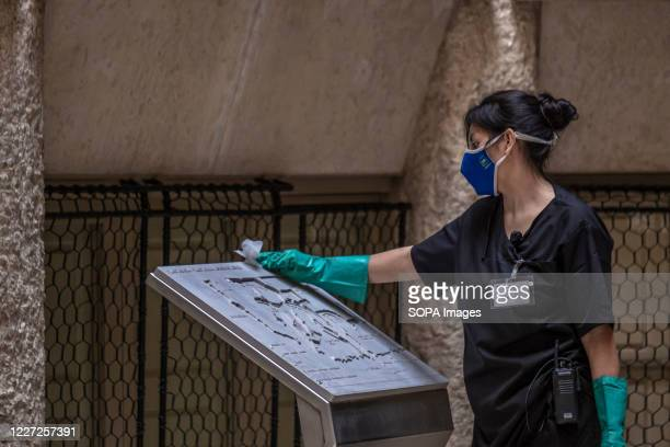 Maintenance personnel cleaning during the reopening. La Pedrera-Casa Milà reopens cultural activities and scheduled visits to the masterpiece of the...