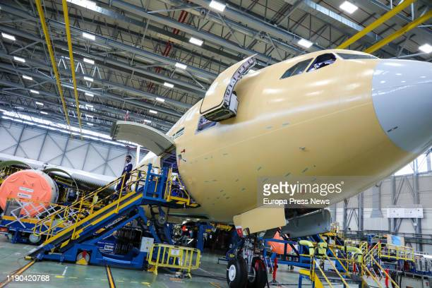 Maintenance work on an Airbus aircraft at the Airbus plant in Getafe on November 27 2019 in Madrid Spain
