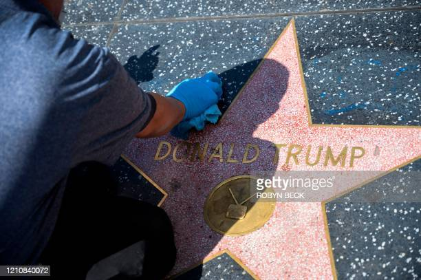 Maintenance worker uses cleaning product to remove graffiti after Donald Trump's star on the Hollywood Walk of Fame was defaced, in a mostly empty...