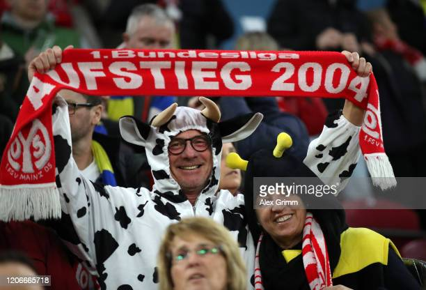 Mainz fans are dressed up for Carnival during the Bundesliga match between 1. FSV Mainz 05 and FC Schalke 04 at Opel Arena on February 16, 2020 in...