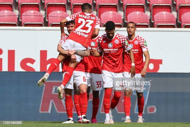 Mainz players celebrates scoring the 2-0 goal during the German first division Bundesliga football match Mainz 05 vs FC Bayern Munich, in Mainz,...
