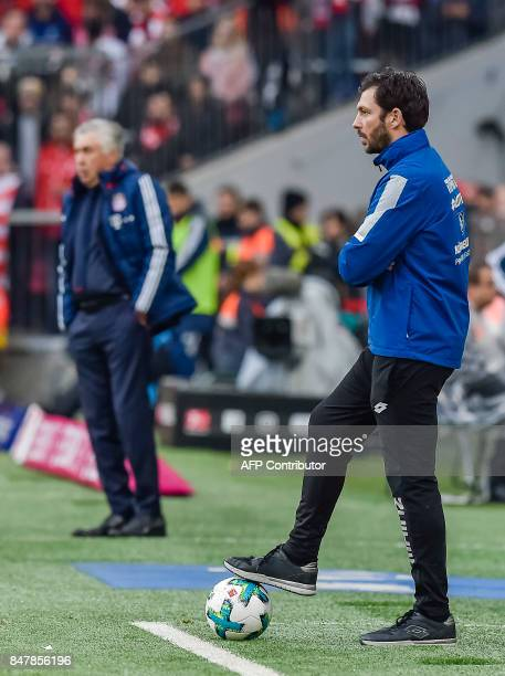 Mainz's German head coach Sandro Schwarz reacts on the sideline during the German first division Bundesliga football match FC Bayern Munich vs FSV...