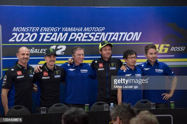 Maio Meregalli of Italy and Monster Energy Yamaha MotoGP Team, Maverick Vinales of Spain and Monster Energy Yamaha MotoGP Team, Lin Jarvis of Britain...