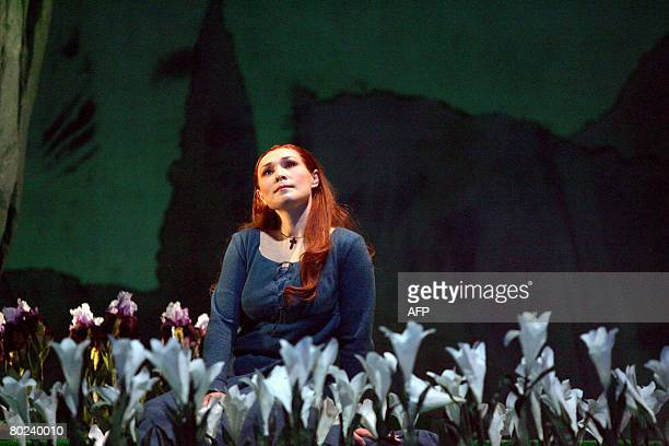 Maira Kerey playing the role of Marguerite performs during the rehearsal of the opera 'Faust' by Charles Gounod on March 12 2008 at the Grand Theatre...