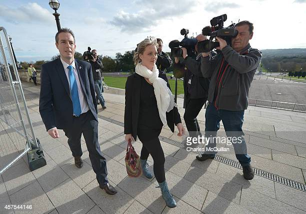 Mairia Cahill arrives alongside Paul Givan from the DUP for her meeting with Northern Ireland First Minister Peter Robinson at Stormont on October...