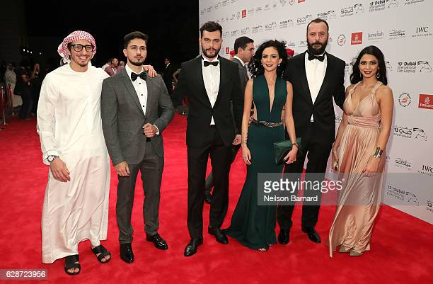 Maisa Abd Elhadi Ali Suliman and Rakeen Saad and guests attend 'The Worthy' red carpet during day three of the 13th annual Dubai International Film...