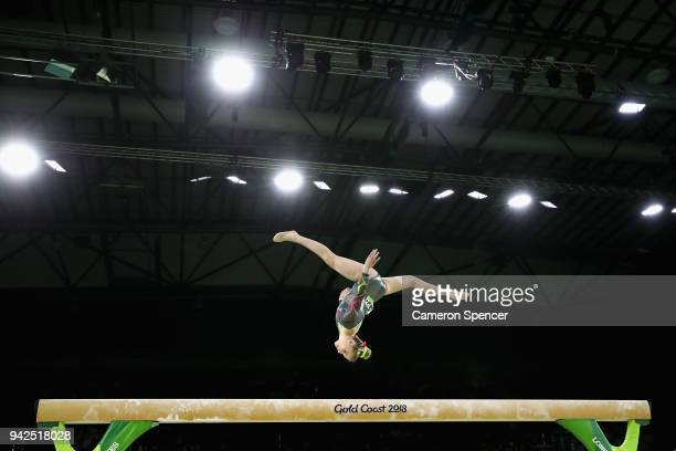 Maisie Methuen of Wales competes on the beam during the Women's Team Final and Individual Qualification Artistic Gymnastics on day two of the Gold...