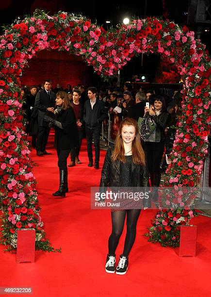 Maisie Smith attends the UK Premiere of New York Winter's Tale at ODEON Kensington on February 13 2014 in London England