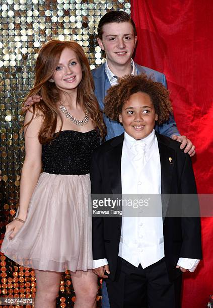 Maisie Smith James Forde and Devon Hicks attend the British Soap Awards held at the Hackney Empire on May 24 2014 in London England