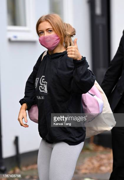 Maisie Smith seen arriving for Strictly Come Dancing 2020 rehearsals on November 24, 2020 in London, England.