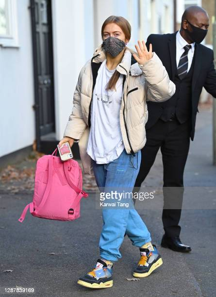 Maisie Smith seen arriving for Strictly Come Dancing 2020 rehearsals on November 26, 2020 in London, England.