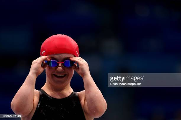 Maisie Summers-Newton of Team Great Britain or Great Britain smiles after she competes in the Women's 200m Individual Medley - SM6 Final on day 2 of...