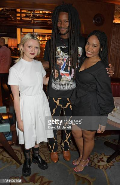 Maisie Williams, Akinola Davies Jr and Weruche Opia attend a private dinner hosted by Maisie Williams at Gymkhana London to celebrate the launch of...