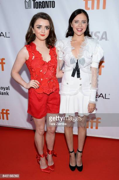 Maisie Williams and Bel Powley attend the 'Mary Shelley' premiere during the 2017 Toronto International Film Festival at Roy Thomson Hall on...