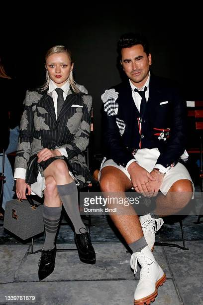 Maisie Williams and Dan Levy attend the Thom Browne front row during NYFW: The Shows at The Griffin Theatre at The Shed on September 11, 2021 in New...