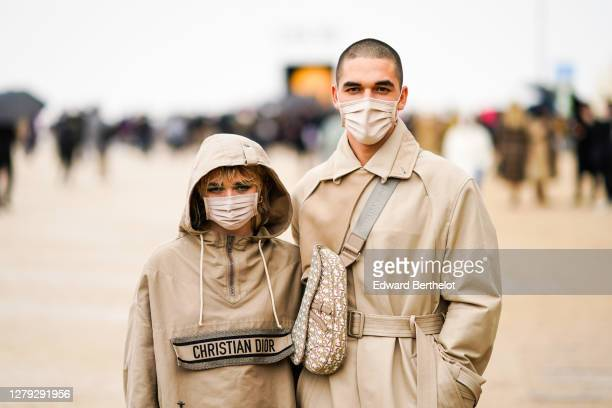 Maisie Williams and Reuben Selby are seen, outside Dior, during Paris Fashion Week - Womenswear Spring Summer 2021 on September 29, 2020 in Paris,...