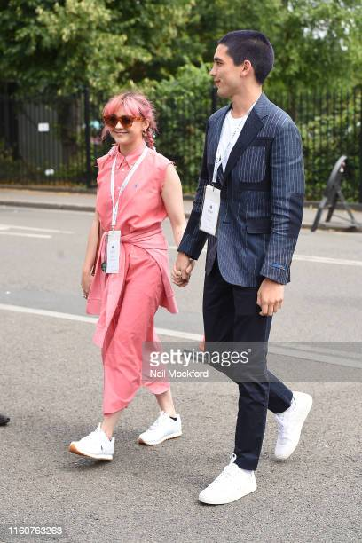 Maisie Williams and Reuben Selby attend day 7 of the Wimbledon 2019 Tennis Championships at All England Lawn Tennis and Croquet Club on July 08 2019...