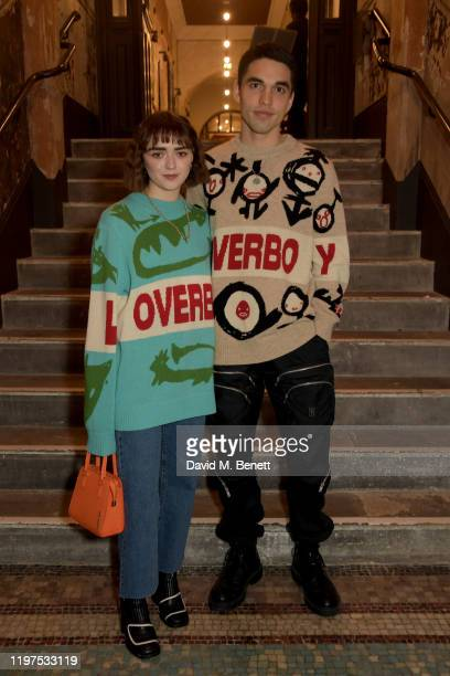 Maisie Williams and Reuben Selby attend the Charles Jeffrey Loverboy show during London Fashion Week Men's January 2020 on January 04, 2020 in...
