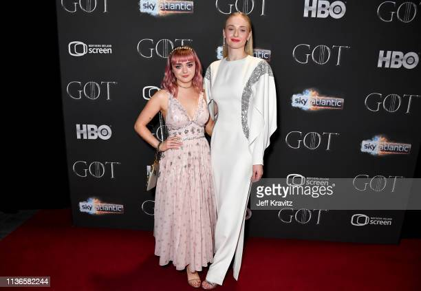 Maisie Williams and Sophie Turner arrive at the Game of Thrones Season Finale Premiere at the Waterfront Hall on April 12, 2019 in Belfast, Northern...