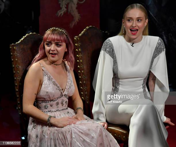 Maisie Williams and Sophie Turner at the Game of Thrones Season Finale Premiere at the Waterfront Hall on April 12, 2019 in Belfast, Northern Ireland.