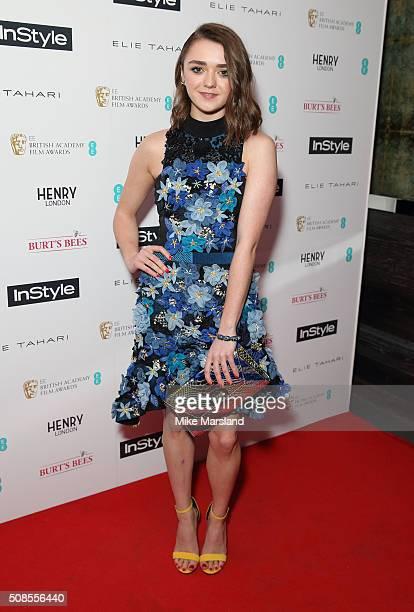 Maisie Williams attends the InStyle EE Rising Star PreBAFTA Party at 100 Wardour Street on February 4 2016 in London England