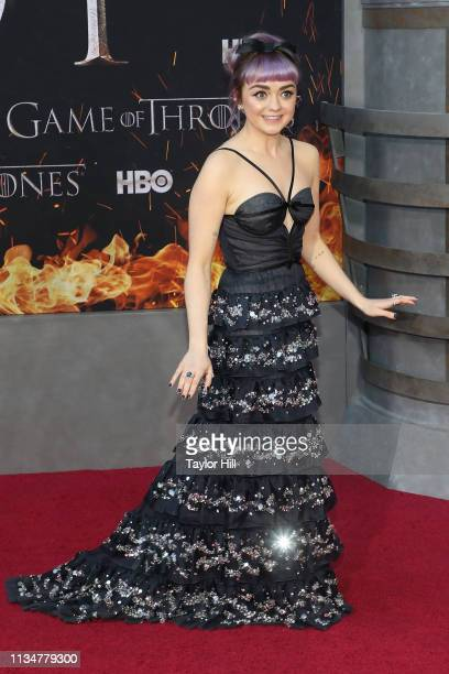 """Maisie Williams attends the premiere of """"Game of Thrones"""" at Radio City Music Hall on April 3, 2019 in New York City."""