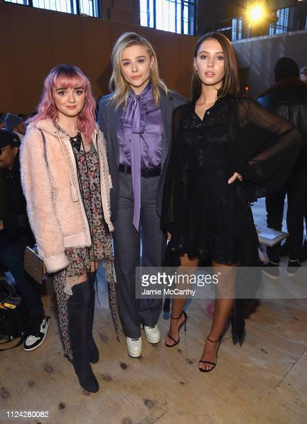 Maisie Williams, Chloe Grace Moretz and Iris Law attend Coach 1941 fashion show at the NYSE on February 2019 during New York Fashion Week on February...