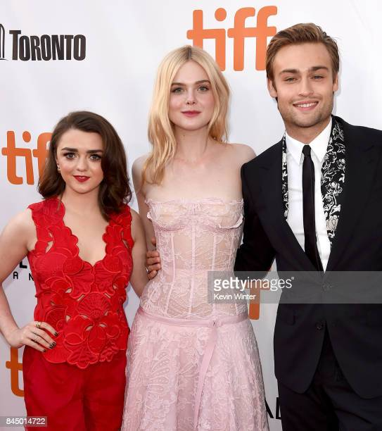 Maisie Williams Elle Fanning and Douglas Booth attend the Mary Shelley premiere during the 2017 Toronto International Film Festival at Roy Thomson...