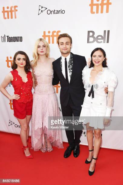 "Maisie Williams, Elle Fanning, Douglas Booth and Bel Powley attend the ""Mary Shelley"" premiere during the 2017 Toronto International Film Festival at..."