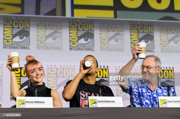 """Maisie Williams, Jacob Anderson, and Liam Cunningham at """"Game Of Thrones"""" Comic Con Autograph Signing 2019 on July 19, 2019 in San Diego, California."""