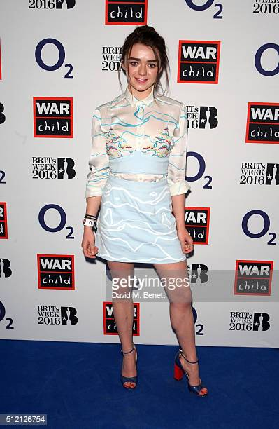 Maisie Williams joins War Child and O2 to watch Coldplay perform at their intimate show at Passport to BRITs week on February 24 2016 in London...