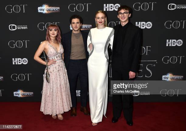 """Maisie Williams, Kit Harington, Sophie Turner and Isaac Hempstead Wright attend the """"Game of Thrones"""" Season 8 screening at the Waterfront Hall on..."""