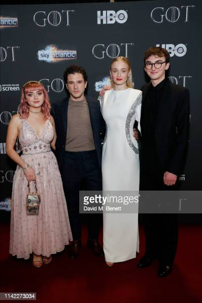 Maisie Williams, Kit Harington, Sophie Turner and Isaac Hempstead-Wright attend the Sky Atlantic 'Game of Thrones' Season 8 premiere at Waterfront...