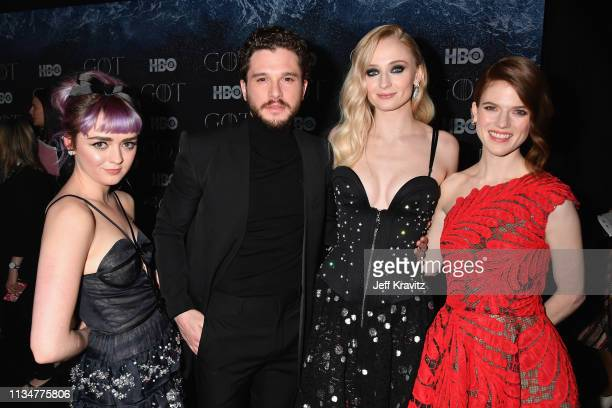 Maisie Williams Kit Harington Sophie Turner and Rose Leslie attend the Game Of Thrones Season 8 NY Premiere After Party on April 3 2019 in New York...