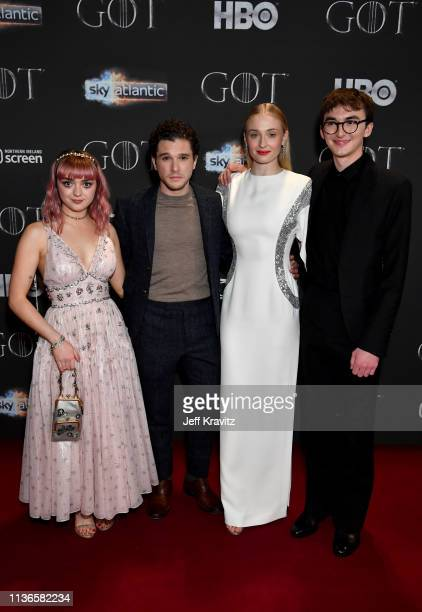 Maisie Williams Kit Harrington Sophie Turner Isaac Hempstead Wright arrive at the Game of Thrones season finale premiere at the Waterfront Hall on...