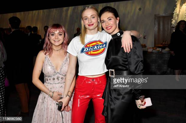 Maisie Williams Sophie Turner Carice Van Houten at the Game of Thrones season finale premiere at the Waterfront Hall on April 12 2019 in Belfast...