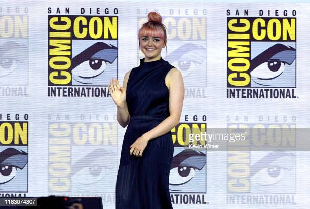 """Maisie Williams speaks at the """"Game Of Thrones"""" Panel And Q&A during 2019 Comic-Con International at San Diego Convention Center on July 19, 2019 in..."""