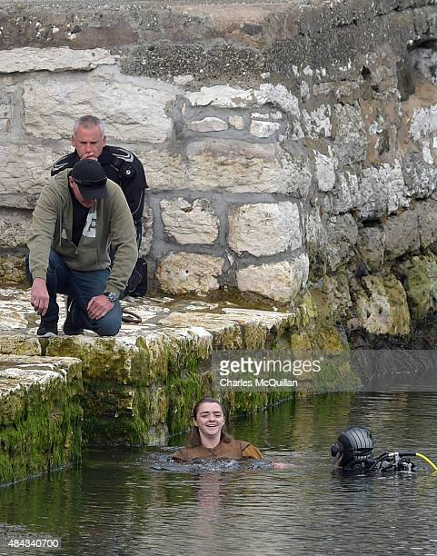 Maisie Williams who plays Ayra Stark on Game of Thrones is filmed during a water scene for the new series on August 17 2015 in Carnlough Northern...
