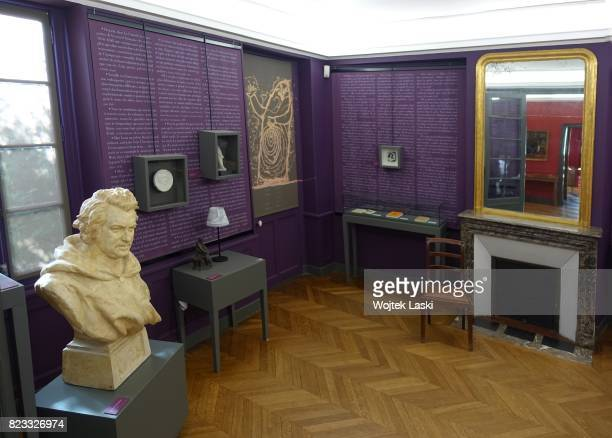 Maison de Balzac a house museum in the former residence of French novelist Honore de Balzac Pictured an exhibion of different portraits of the writer...