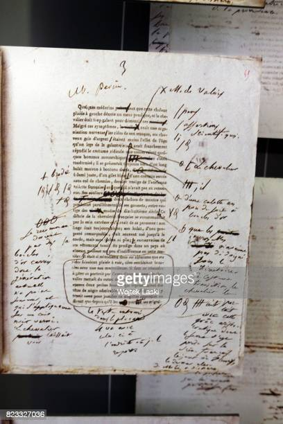 Maison de Balzac a house museum in the former residence of French novelist Honore de Balzac Pictured the writer's notes Paris France on 11th February...
