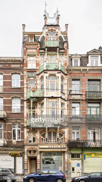 Maison de Beck 9 Avenue Paul Dejaer Brussels c2014c2017 Designed by Gustave Strauven 1905 Asymmetrical building in refined polychrome with red and...