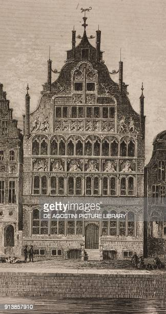 Maison des FrancsBateliers Ghent Belgium engraving by Lemaitre from Belgique et Hollande by Van Hasselt L'Univers pittoresque published by Firmin...
