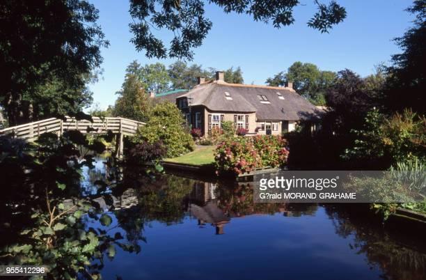 Maison du village lacustre de Giethoorn, Pays-Bas.