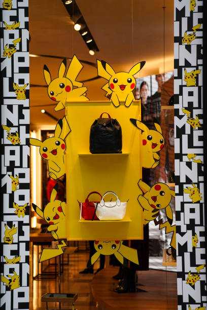 FRA: Maison Longchamp Displays Its Pikachu, The Mascot Of The Pokemon Brand, Collection At The Longchamp Champs Elysees Store In Paris