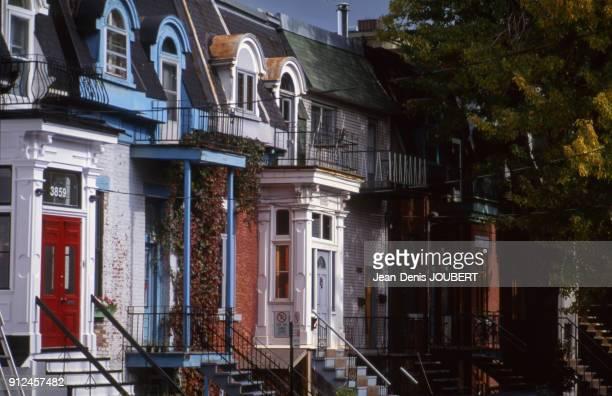 Maisons d'un quartier residentiel a Montreal Canada