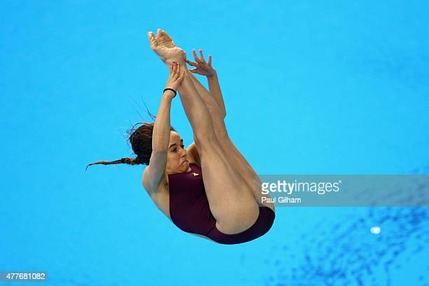 Maissam Naji of France competes in the Women's 1m Springboard diving during day seven of the Baku 2015 European Games at the Baku Aquatics Centre on...