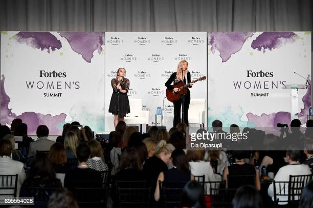 Maisy Stella and Lennon Stella of Lennon Maisy perform onstage during the 2017 Forbes Women's Summit at Spring Studios on June 13 2017 in New York...